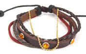 Studded Orange Crystal Zen Braided Leather Bracelet with Soft Red Leather and Brown Hemp Strands Accented by a Copper Colour Bead Chain. Ships Same Day! Adjustable for Men, Women and Teens Fits 4.5 to 22.9cm wrists sizes
