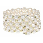 Faux Pearl and Yellow Cubic Zirconia Bracelet