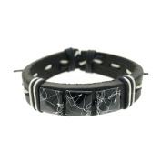 BLACK Square Rivets Leather Bracelet Women Mens Adjustable 6 to 22.9cm