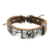 WHITE Square Rivets Leather Bracelet Women Mens Adjustable 6 to 22.9cm