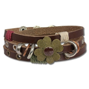 SilberDream leather bracelet brown with rivets ,unisex, genuine leather LA2913B
