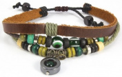 Beaded Three Strand Zen Leather Bracelet with a Black Chrome Pendant with Dark Green Bead Inside, Colourful Wooden Beads, Chrome Coloured Metal Spacers, Light Green Hemp Wrap Brown Leather.