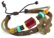 Beaded Three Strand Zen Leather Bracelet with Antique Bronze Colour Metal Flower Centrepiece on Studded Dark Brown Leather, Beaded Dark Green Hemp with Colourful Wooden Beads, Metallic Spacers and Red Cats Eyes Barrel bead.