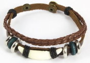 Beaded Three Strand Leather Bracelet with an Faux Animal Tooth Centrepiece with Black Hemp Wrap, Colourful Wooden Blue Beads, Chrome Coloured Spacers, and Two Strands of Dark Brown Braided Leather.