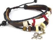 Beaded Three Strand Zen Leather Bracelet Wrap with Faux Animal Tooth and Metallic De Fleur Charm, Beaded Black Hemp with Colourful Wooden Beads, Metal Spacers, Dark Brown Leather with Natural Hemp Wrap. Ships Same Day! Adjustable for Men, Women and Tee ..