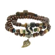 Hollow Leaf Wood Beads Wrapped Bracelet Adjustable 7.5 to 20.3cm