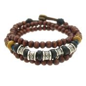 Textured Barrels Wood Beads Wrapped Bracelet Adjustable 7.5 to 20.3cm