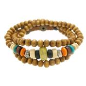 Vein Rondelle Wood Beads Wrapped Bracelet Adjustable 7.5 to 20.3cm