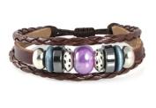 Karma Bead Leather Zen Bracelet For Men, Women, Teen, Student in Gift Box