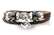 Om Leather Zen Bracelet; Fits 6 to 22.9cm For Men, Women, Teen, Student
