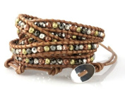 """""""Spice"""" Wrap Bracelet in Gold, Silver, Copper and Hematite Faceted Beads on Genuine Tan Leather"""