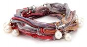 "Ettika ""Vintage Ribbon"" Rainbow Wrap Bracelet Silver Pearl Drops"
