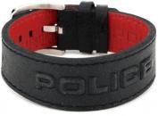 "Police ""VEGAS"" Black Leather Bracelet with 3D Police Logo"