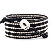 Chan Luu Silver Nugget Wrap Bracelet on Black Leather