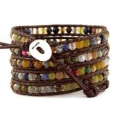 Chan Luu Multi Stone Wrap Bracelet on Brown Leather