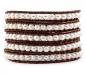 Chan Luu White Pearl Wrap Bracelet on Brown Leather