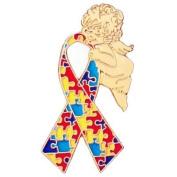 Autism Ribbon Angel Pin