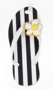 Flip Flop Luggage Tag - Black and White Stripe