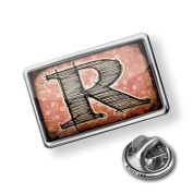"""Pin """"R"""" Vintage"""" characters, letter old rose - Lapel Badge - NEONBLOND"""