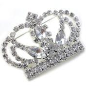 Princess Crown Tiara Brooch Pin Wedding Bridesmaid Clear Stone Crystal Silver Tone Costume Jewellery