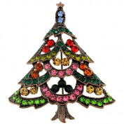 Multi-Colour Christmas Tree Pin Brooch