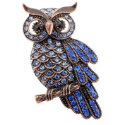 Vintage Sapphire Blue Owl Pin Brooch