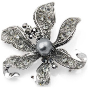 Vintage Style Black Flower Pearl Pin Brooch and Pendant