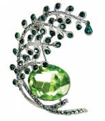 Peacock Tail Emerald Crystal Silver Tone Brooch Pin