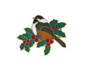 Hand enamelled chickadee bird and holly lapel pin