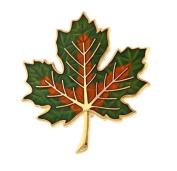 Hand enamelled fall maple leaf brooch or pin