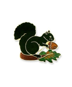 Vitreous hand enamelled squirrel and acorn brooch or pin