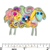 Colourful Fluffy Sheep Pin from the Artazia Collection #673W NP