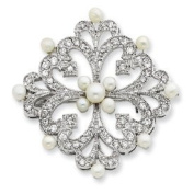 Sterling Silver Freshwater Pearl and CZ Pin - JewelryWeb