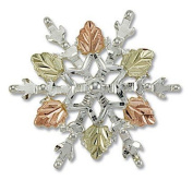 Landstroms Black Hills Gold and Silver Snowflake Brooch Pin - PN873SS