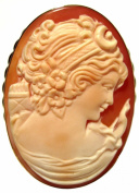Cameo Pin Pendant Goddess Diana Master Carved Conch Shell Sterling Silver 18k Gold Overlay Italian