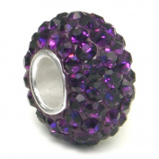 Swaroski Amethyst Purple Crystal Ball Bead Sterling Silver Charm Fits Pandora Chamilia Biagi Trollbeads European Bracelet