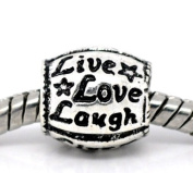 Silver Tone Live Love Laugh Bead Charm Spacer Bead Fits European Pandora Troll Other Type Bracelet