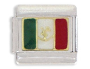 Clearly Charming Mexican Flag Italian Charm