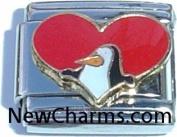 Heart With Penguin Italian Charm Bracelet Jewellery Link