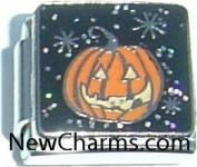 Jack O Lantern Pumpkin Italian Charm Bracelet Jewellery Link