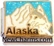 Alaska On Light Blue Italian Charm Bracelet Jewellery Link