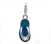 Divine Beads Blue Enamel Beach Sandal / Flip Flop Clip on Charm Bead fits Thomas Sabo and other European style Clip on Charm bracelets