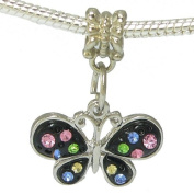 Multi- Coloured Rhinestone Enamel Butterfly Charm By Olympia Charms & Beads