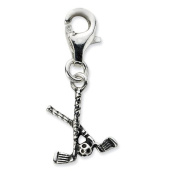 Sterling Silver Antiqued Golf Clubs & Ball w/Lobster Clasp Charm