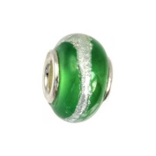 IMPPAC green Silverline Murano Style Glass Bead, 925 Sterling Silver, fits European Charms Bracelets SMB8022