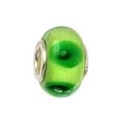IMPPAC green Murano Style Glass Bead, Spring, 925 Sterling Silver, fits European Charms Bracelets SMB8042