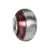 IMPPAC violet and silver Murano Style Glass Bead, 925 Sterling Silver, fits European Charms Bracelets SMB8089