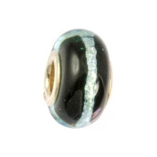 IMPPAC black Silverline Murano Style Glass Bead, 925 Sterling Silver, fits European Charms Bracelets SMB8030