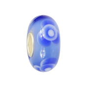 IMPPAC blue Murano Style Glass Bead, Rose, 925 Sterling Silver, fits European Charms Bracelets SMB8116