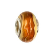 IMPPAC fawn and ocher Murano Style Glass Bead, Dune, 925 Sterling Silver, fits European Charms Bracelets SMB8064